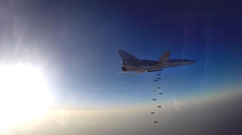 من فيديو نشرته وزارة الدفاع الروسية لقصف قاذفة «تو 22» مواقع في سوريا انطلاقاً من قاعدة همدان