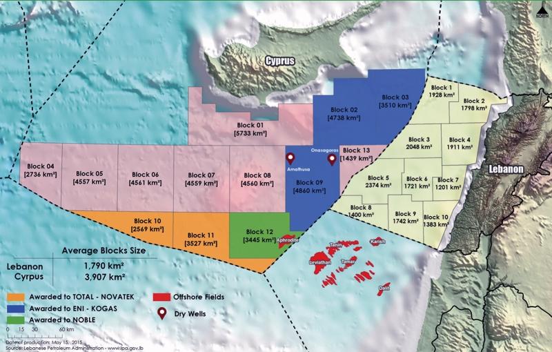 خريطة توزيع بلوكات الغاز الطبيعي المنتشرة في البحر المتوسط