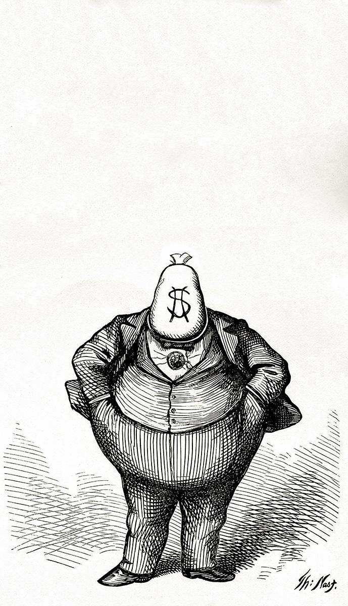 0.3% فقط من اللبنانيين الراشدين يستحوذون على 48% من ثروة سكان لبنان المقدّرة بـ91 مليار دولار (كاريكاتور Thomas Nast)