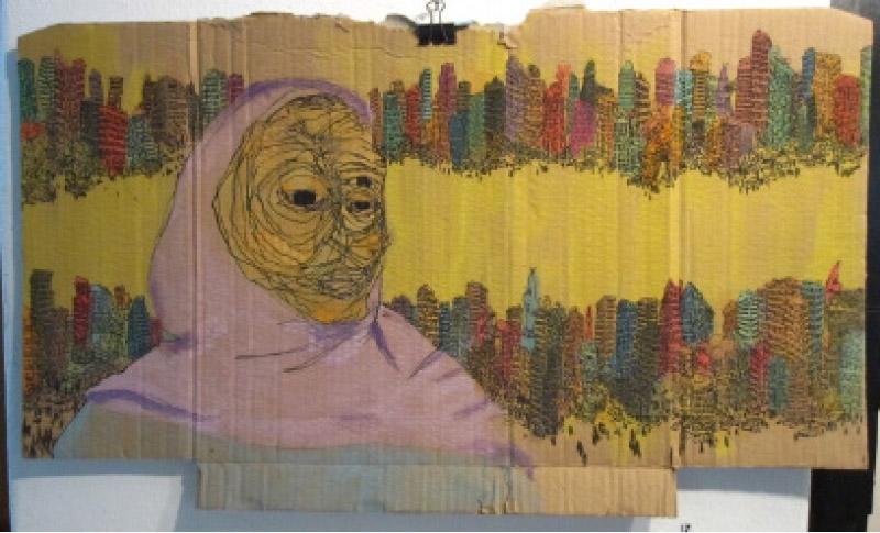 علي عبدالمحسن (أكريليك وحبر على ورق مقوى، 120×80 سنتم)
