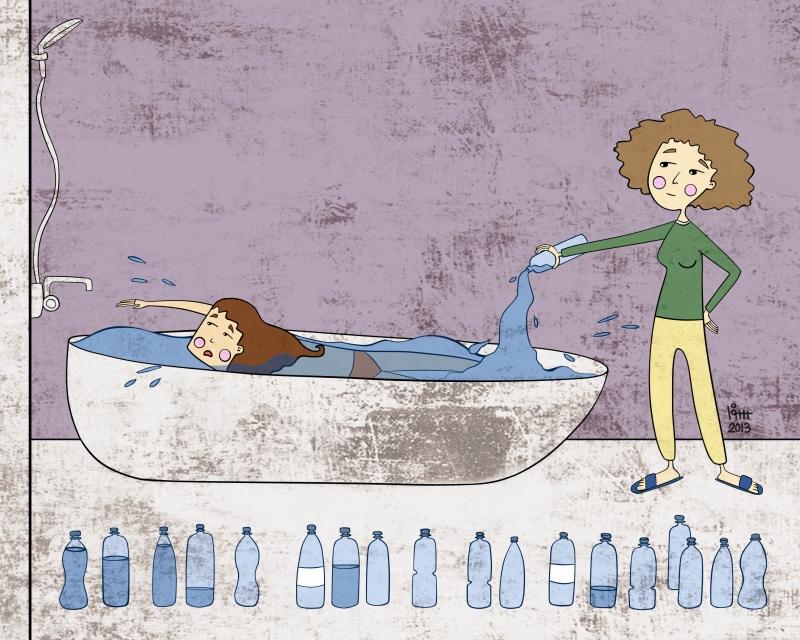 درس سباحة (الرسم للفنانة سومر سلام)