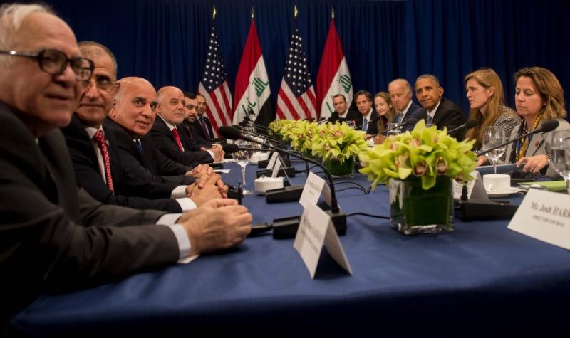 خلال اللقاء بين أوباما والعبادي في نيويورك (أ ف ب)