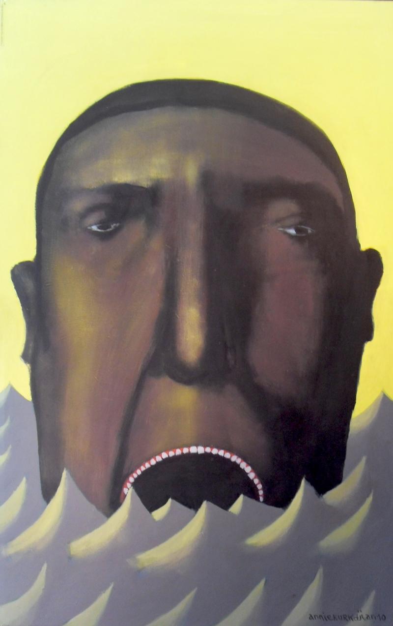 «البحر للشرب» للبنانية آني كوركدجيان (أكريليك على كانفاس ــ 120×80 سنتم)