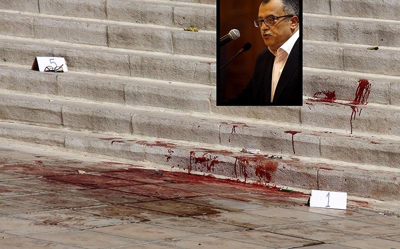 مسرح جريمة اغتيال الشهيد ناهض حتر (أ ف ب)