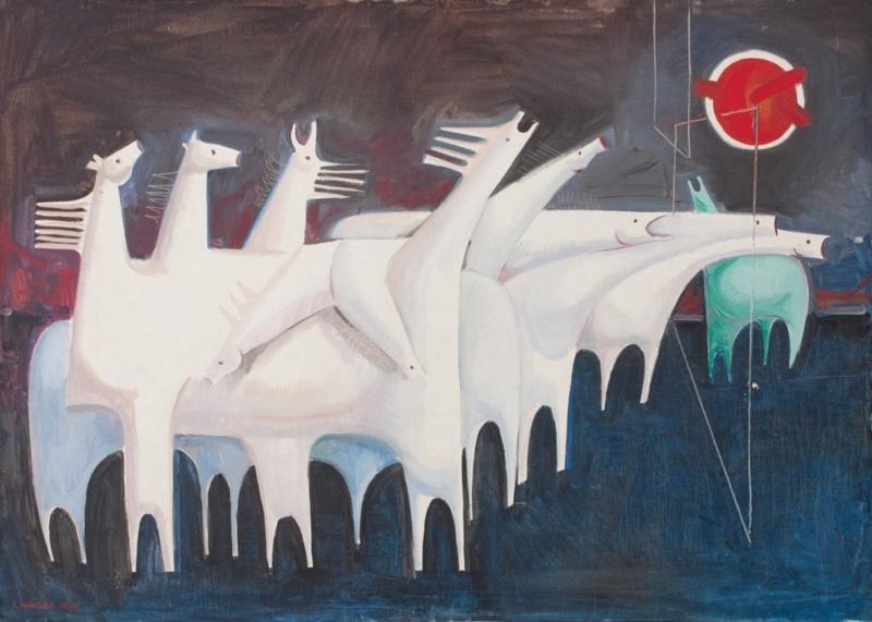 كاظم حيدر، «عشرة خيول متعبة تتحاور مع اللاشيء» (لوحة زيتية، ١٩٦٥)