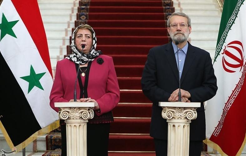 لاريجاني خلال استقباله هدية عباس: «حل الأزمة يكمن في الخيار السياسي» (تسنيم)