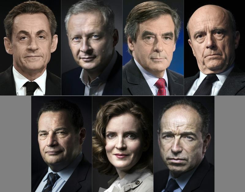 مرشحو اليمين السبعة للانتخابات الرئاسية الفرنسية المقبلة في عام 2017(أ ف ب)