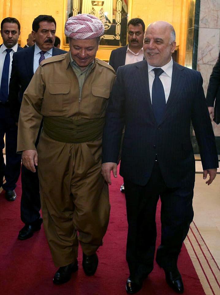 أشاد البرزاني للمرة الأولى بجهود الجيش و«الحشد الشعبي» في عمليات التحرير (الأناضول)