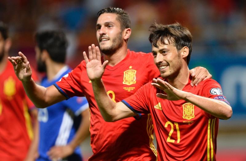 اصبح دافيد سيلفا رابع هدافي المنتخب الاسباني عبر تاريخه (ميغيل ريوبا - أ ف ب)