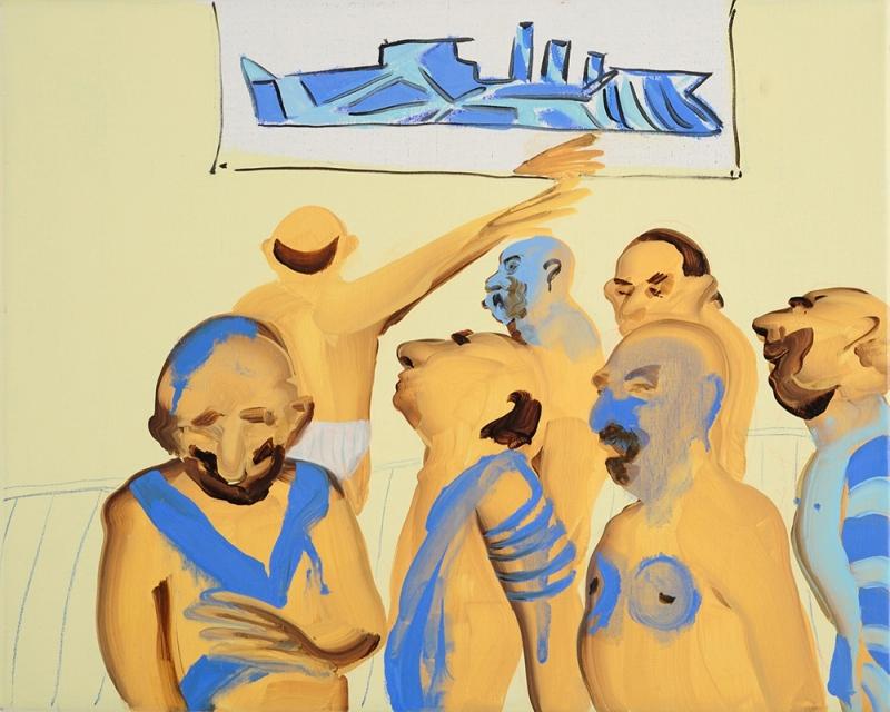 Dazzle Men للإيرانية تالا مدني (زيت على كتان ــ 40×50.5 ــ 2008)