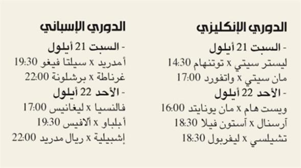 صورة جدول المباريات