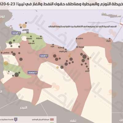 خريطة التوزع والسيطرة ومناطق حقول النفط والغاز في ليبيا