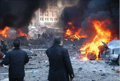 ساحة الجريمة في 14 شباط 2005 (أرشيف)