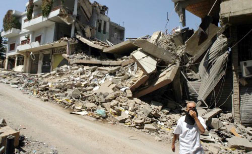 آثار العدوان في حي العسيرة في بعلبك (عفيف دياب)
