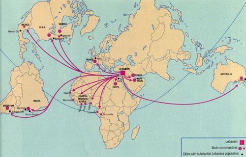 خريطة الانتشار اللبناني على القارات