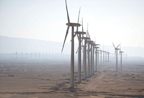 مراوح هوائية في محطة الزعفرانة جنوب خليج السويس