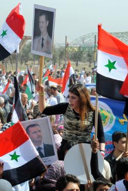 شهدت عدد من المناطق السورية مسيرات في ذكرى تأسيس حزب «البعث» (أ ف ب)
