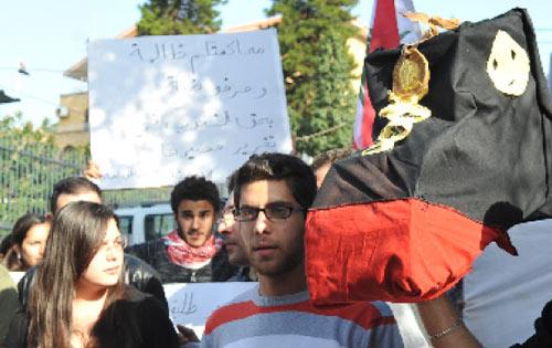أثناء الاعتصام أمام السفارة العراقية