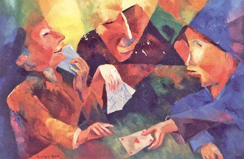 «لاعبو الورق» (زيت على قماش، 72x98 سنتم، 1961)