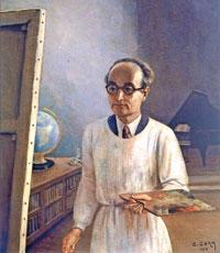رسم ذاتي (زيت على قماش، 88x65 سنتم، 1953)
