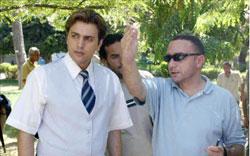 المخرج باسل الخطيب مع تيم حسن في مسلسل نزار قباني