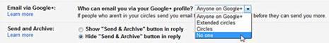 صورة توضح طريقة وقف الرسائل المزعجة من غوغل+