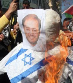 خلال تظاهرة منددة بخنفر في الضفة الغربية مطلع العام الحالي