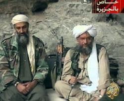 الظواهري وبن لادن في شريط بثّته «الجزيرة» (2001)