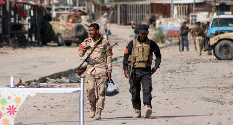 قتل ما لا يقال عن 26 عنصراً من قوات الحشد الشعبي في انفجار انتحاري في جرف الصخر (أ ف ب)