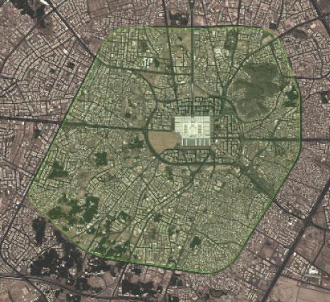 خريطة جوية للمساحة الكلية التي ستشملها التوسعة