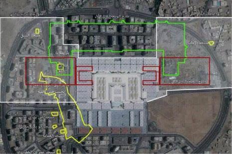يستهدف مشروع التوسعة هدم المساجد السبعة الشهيرة المبنية في محيط المسجد النبوي