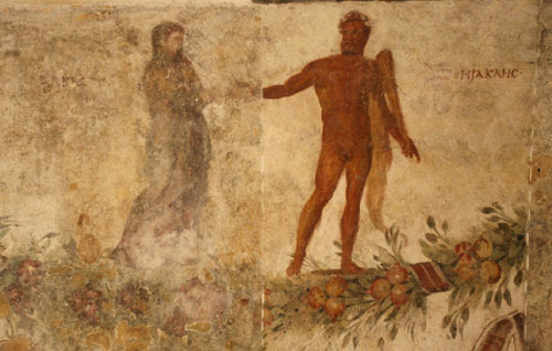 الجدارية الرومانية التي تصور هرقليس منقذاً آلسيست من عالم الأموات