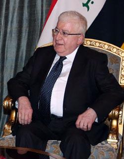 اعتبر معصوم أن ما تقدمه إیران من مساعدات للعراق لا يعتبرها تدخلاً فی شؤون العراق(أرشيف)