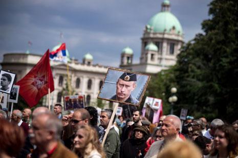 أحيت مظاهرة في بلغراد مناسبة «الانتصار» (أ ف ب)