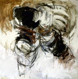 «رقصة الهروب2» (مواد مختلفة على كانفاس ــ 108 × 108 سنتم ــ 2009)