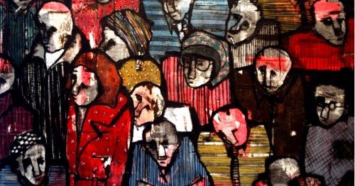 «إشارة حمراء» (كولاج ومواد مختلفة على كانفاس ــ 150 × 100 سنتم ــ 2010)
