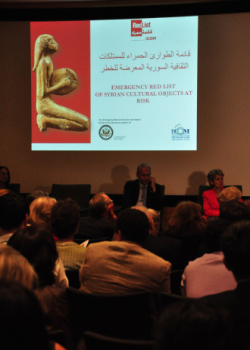 من مؤتمر أقيم في نيويورك عام 2013 حول المواقع الأثرية المهددة في سوريا