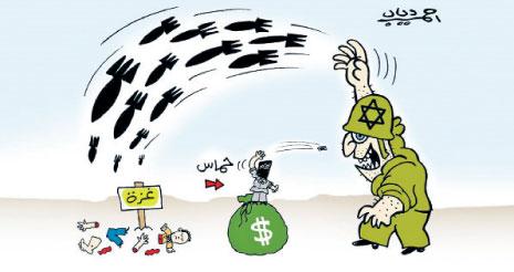 نموذج من الرسوم الكاريكاتورية التي انتشرت في الصحافة المصرية وتساوي بين «حماس» واسرائيل (أحمد دياب ــ مصر)