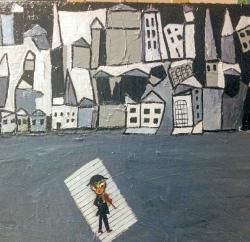 لوحة بريشة الفنان اللبناني فؤاد نعيم تحية إلى أنسي الحاج