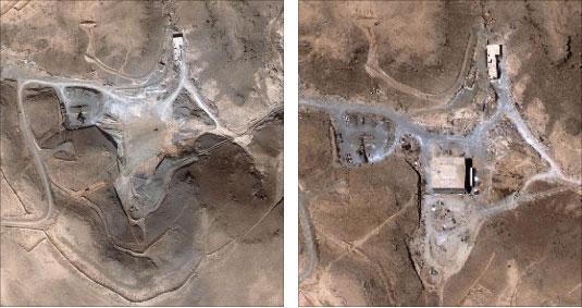 صورتان للموقع المستهدف قبل الغارة وبعدها (ديجيتل غلوب ـ أ ب)