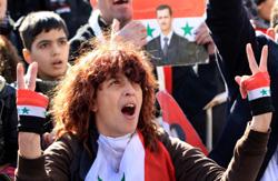 مؤيدة للرئيس السوري في دمشق الأسبوع الماضي (أ ف ب)