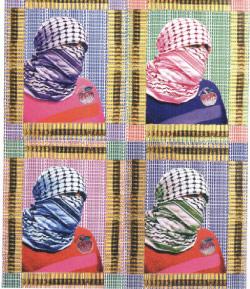 ليلى الشوا: Fashionista Terrorista (تصوير ومواد مختلفة على كانفاس ــ 100 × 75 سنتم ــ 2012)