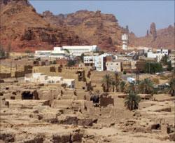 جانب من منطقة «مدائن صالح» في شمال غرب المملكة السعوديّة أمس (أ ف ب)