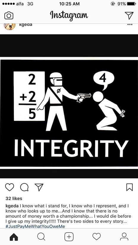 صورة وتعليق لغالاواي على حسابه على انستاغرام