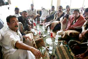 يمنيون يمضغون القات في أحد مقاهي صنعاء (إي بي إيه)