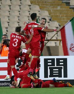 تعادلت سوريا أمام إيران 2-2 في طهران (أ ف ب)