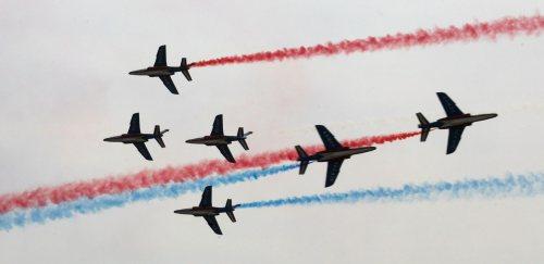 طائرات فرنسية خلال عرض خارج موسكو أمس (سيرغي شيريكوف - إي بي أي)