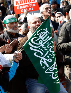 متظاهرون أتراك ضدّ إسرائيل في إسطنبول (مراد سيزر ـــ رويترز)