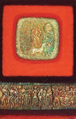 من دون عنوان (أكريليك ومواد مختلفة على خشب ـــ 91 × 60 سنتم ــ 1972)