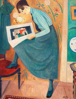 «صبية تقرأ مجلة فنية» للسويدي إينور جولين (121x91 سنتم ــ 1919)